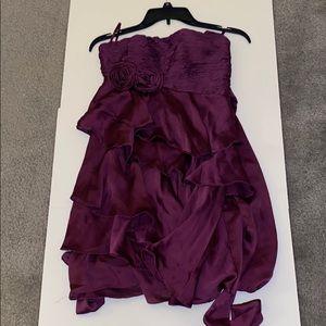 Body central purple off the shoulder mini dress.